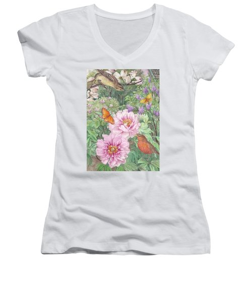 Women's V-Neck T-Shirt (Junior Cut) featuring the painting Birds Peony Garden Illustration by Judith Cheng