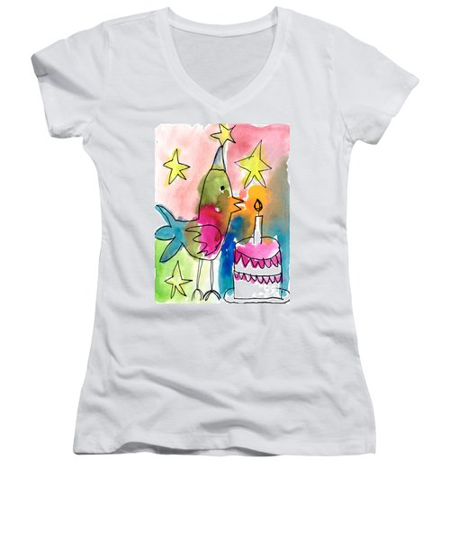 Birthday Bird Women's V-Neck