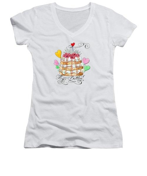 Birthday Cake Women's V-Neck T-Shirt