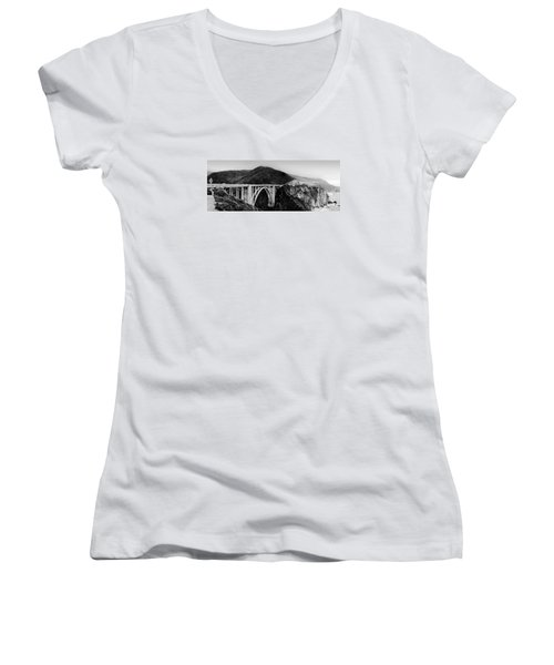 Bixby Bridge - Big Sur - California Women's V-Neck T-Shirt