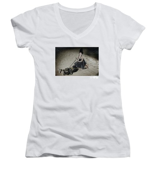 Bizarre Girl With Lawn Mower On Beach Women's V-Neck T-Shirt