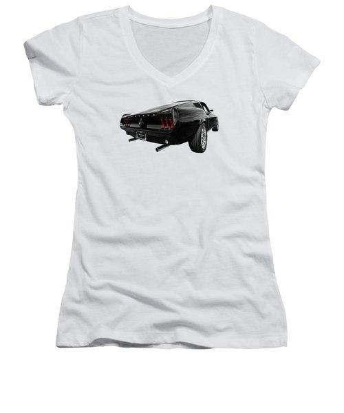 Black 1967 Mustang Women's V-Neck T-Shirt (Junior Cut) by Gill Billington