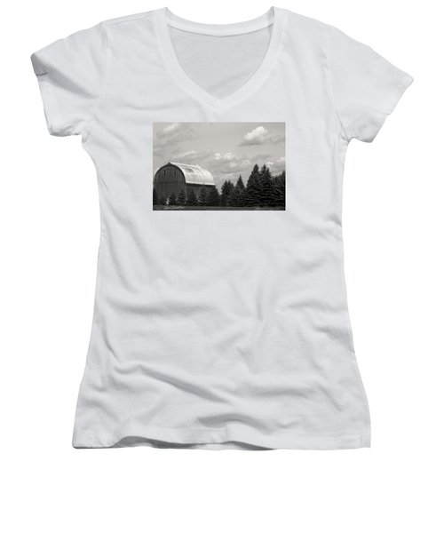 Women's V-Neck T-Shirt (Junior Cut) featuring the photograph Black And White Barn by Joann Copeland-Paul