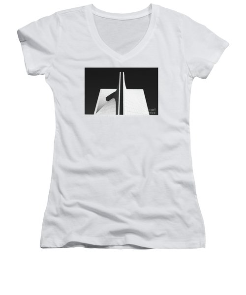 Women's V-Neck T-Shirt (Junior Cut) featuring the photograph Black And White Building by MGL Meiklejohn Graphics Licensing