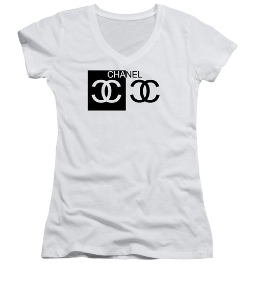 Women's V-Neck featuring the mixed media Black And White Chanel 2 by Dan Sproul