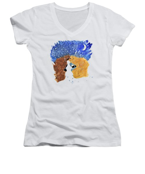 Romantic Kissing With Stars In Their Hair Women's V-Neck T-Shirt