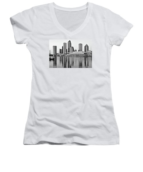Black And White In The Heart Of Tampa Bay Women's V-Neck T-Shirt (Junior Cut) by Frozen in Time Fine Art Photography