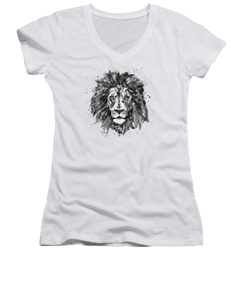 Black And White Lion Head  Women's V-Neck T-Shirt (Junior Cut) by Marian Voicu