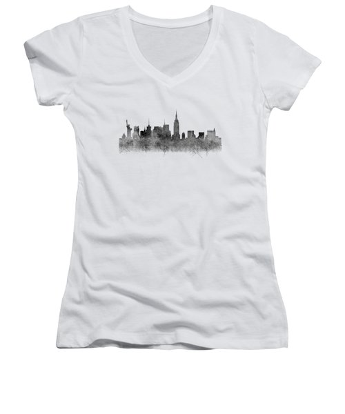 Women's V-Neck featuring the digital art Black And White New York Skylines Splashes And Reflections by Georgeta Blanaru