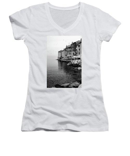 Black And White - Rovinj Venetian Buildings And Adriatic Sea, Istria, Croatia Women's V-Neck