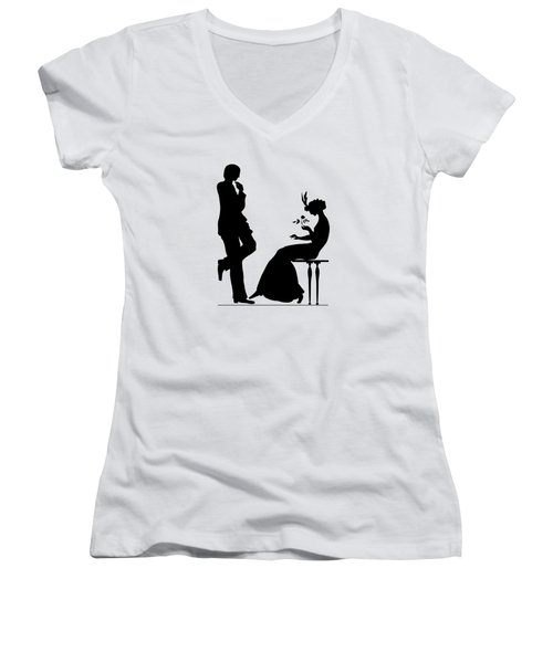 Black And White Silhouette Of A Man Giving A Woman A Flower Women's V-Neck T-Shirt