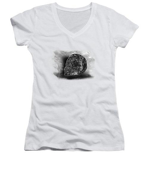 Black And White Skull On Transparent Background Women's V-Neck