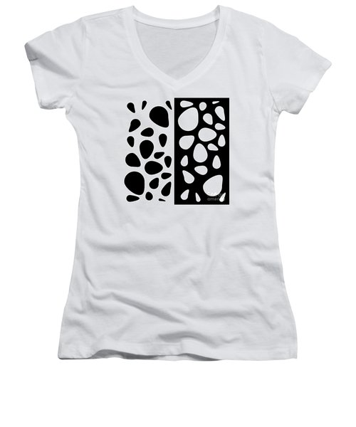 Black And White Teardrops Women's V-Neck (Athletic Fit)