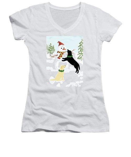 Black And Yellow Labs With Snowman Women's V-Neck T-Shirt