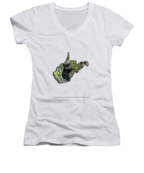 Black Bear Cub Climbing Down A Tree Women's V-Neck T-Shirt (Junior Cut) by Dan Friend