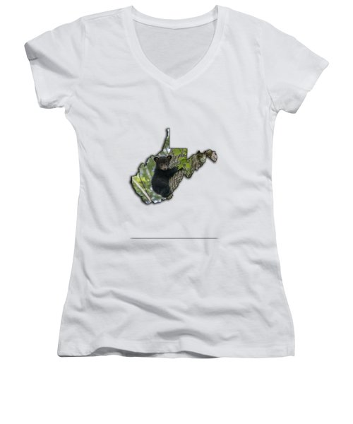 Black Bear Cub Climbing Down A Tree Women's V-Neck T-Shirt