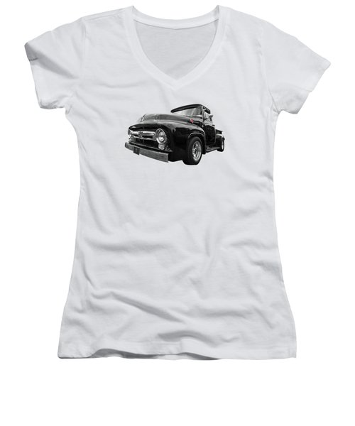 Black Beauty - 1956 Ford F100 Women's V-Neck (Athletic Fit)