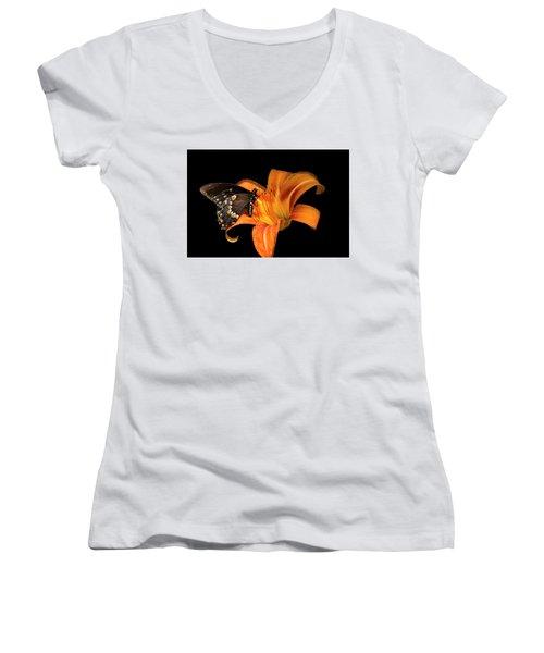 Black Beauty Butterfly Women's V-Neck T-Shirt