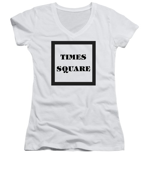 Black Border Times Square Women's V-Neck (Athletic Fit)