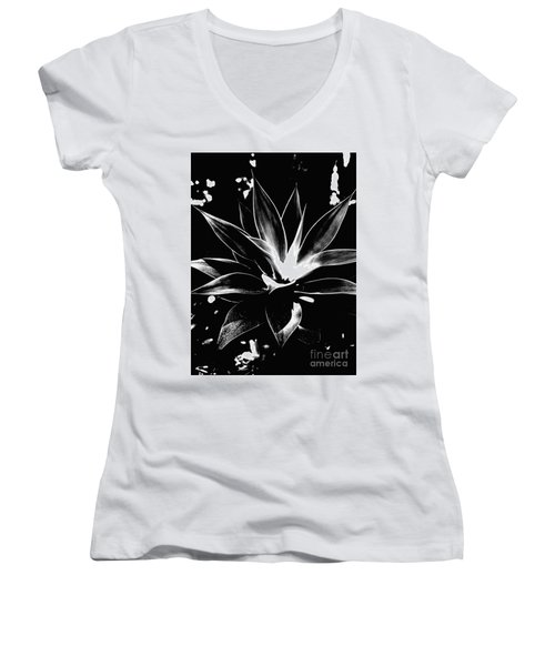 Women's V-Neck T-Shirt (Junior Cut) featuring the photograph Black Cactus  by Rebecca Harman