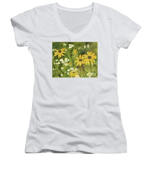 Black-eyed Susans In A Field Women's V-Neck