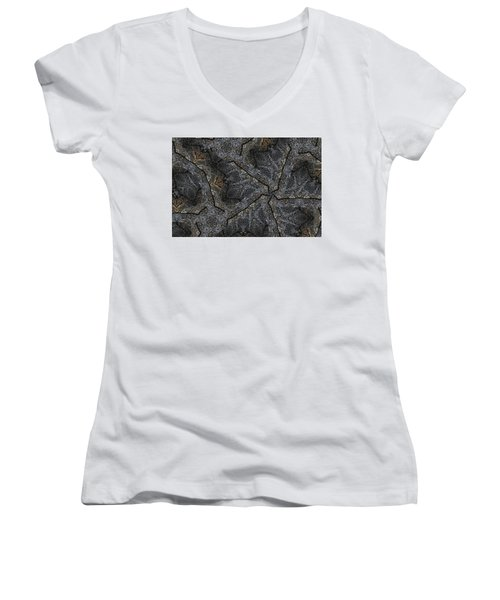 Black Granite Kaleido #1 Women's V-Neck T-Shirt