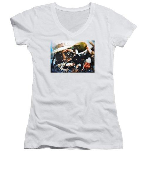 Black Powder Women's V-Neck T-Shirt