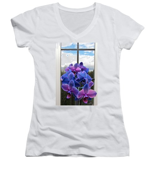 Women's V-Neck T-Shirt (Junior Cut) featuring the photograph Black Sapphire Orchids  by Aaron Berg