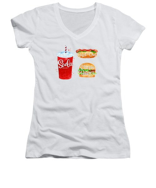 Black Soda Women's V-Neck T-Shirt (Junior Cut) by Aloke Creative Store
