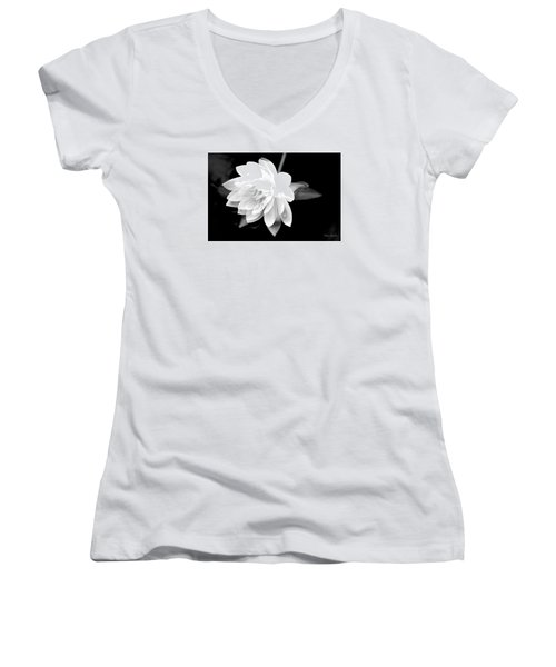 Black/white Lotus Women's V-Neck (Athletic Fit)