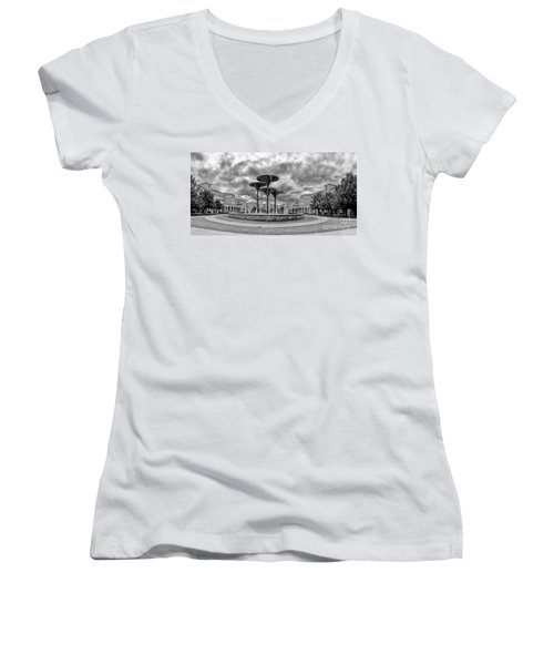 Black White Panorama Of Texas Christian University Campus Commons And Frog Fountain - Fort Worth  Women's V-Neck