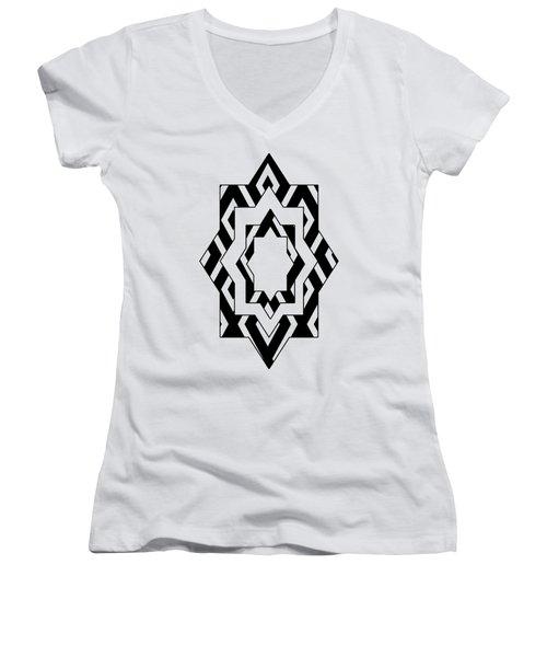 Black White Pattern Art Women's V-Neck