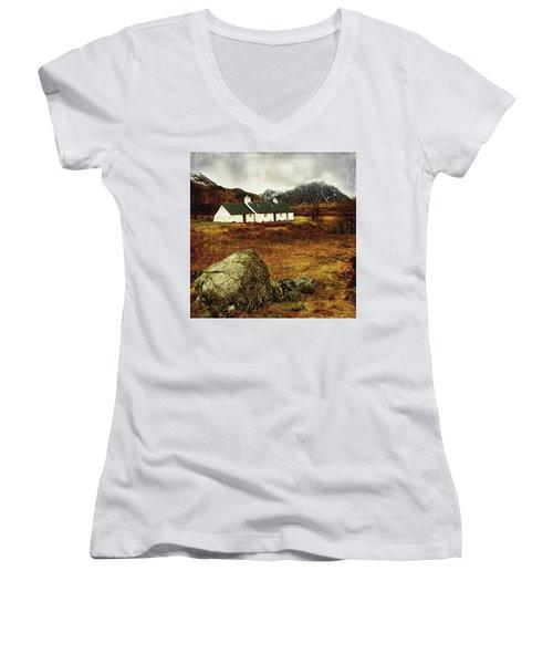 Blackrock Cottage Glencoe Women's V-Neck T-Shirt (Junior Cut) by Jacqi Elmslie