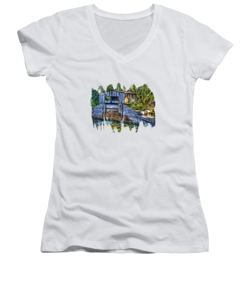 Women's V-Neck T-Shirt (Junior Cut) featuring the photograph Blakes Pond House by Thom Zehrfeld