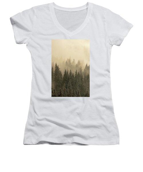 Women's V-Neck T-Shirt (Junior Cut) featuring the photograph Blanket Of Back-lit Fog by Dustin LeFevre