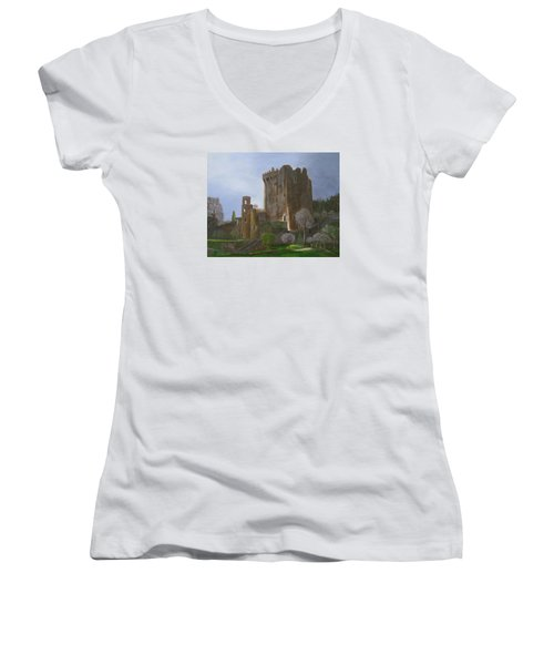 Women's V-Neck T-Shirt (Junior Cut) featuring the painting Blarney Castle by LaVonne Hand