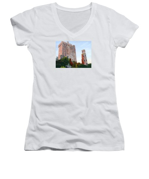 Women's V-Neck T-Shirt (Junior Cut) featuring the painting Blarney Castle by Lynne Reichhart