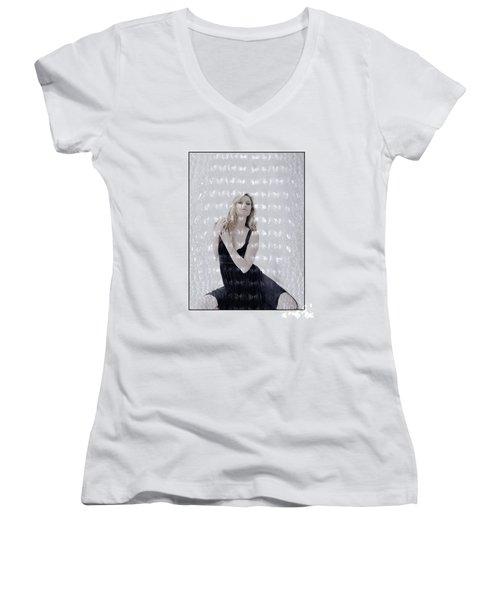 Blonde Girl Crouching Women's V-Neck T-Shirt (Junior Cut) by Michael Edwards