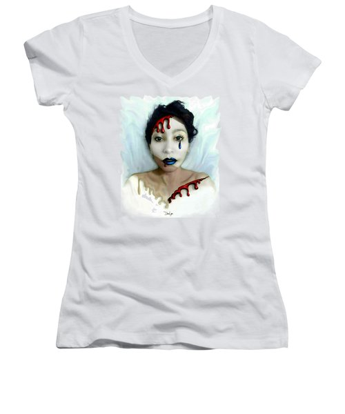 Blood Sweat Tears Faced Women's V-Neck (Athletic Fit)