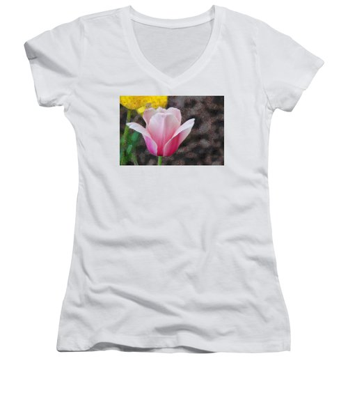 Women's V-Neck T-Shirt (Junior Cut) featuring the mixed media Bloomin' by Trish Tritz