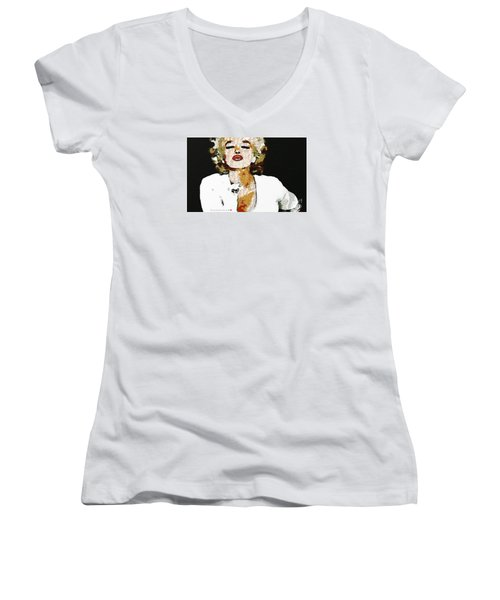 Blow Me A Kiss Marilyn Monroe In The Mix Women's V-Neck