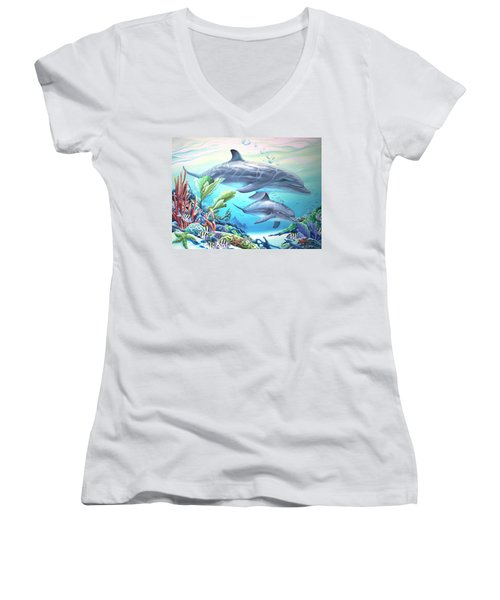 Blowing Bubbles Women's V-Neck T-Shirt (Junior Cut) by William Love