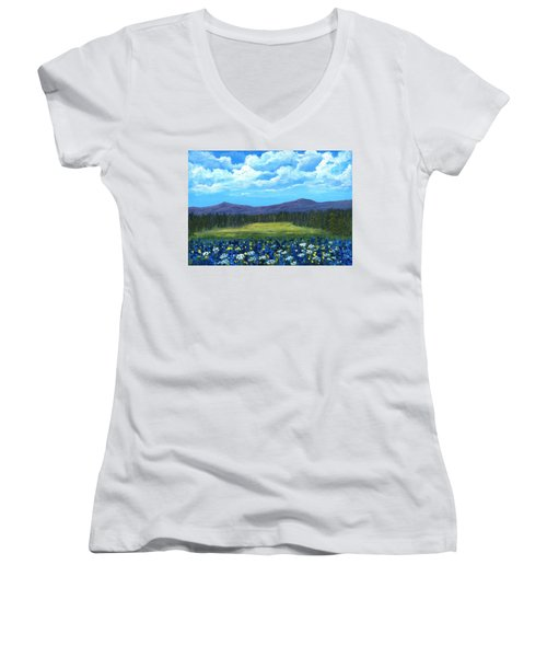 Women's V-Neck T-Shirt featuring the painting Blue Afternoon by Anastasiya Malakhova