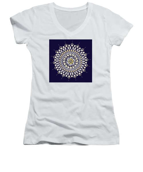 Blue And Gold Lens Mandala Women's V-Neck T-Shirt (Junior Cut) by Deborah Smith
