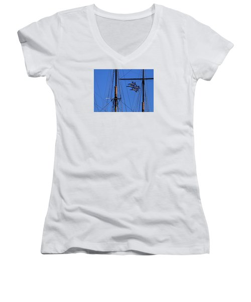 Blue Angels Pass Behind Masts Of The Balclutha At Hyde Street Pier Women's V-Neck T-Shirt