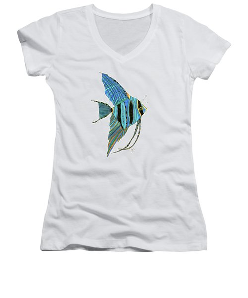 Blue Anglefish Women's V-Neck (Athletic Fit)