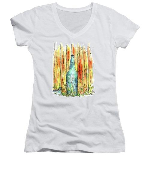 Women's V-Neck T-Shirt (Junior Cut) featuring the painting Blue Bottle by Cathie Richardson