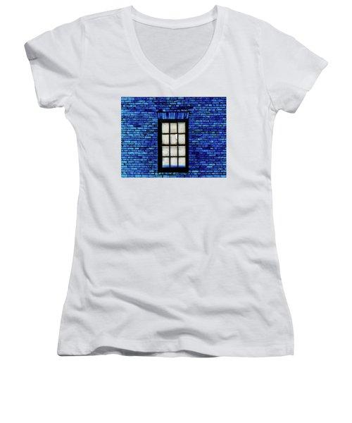 Women's V-Neck T-Shirt (Junior Cut) featuring the digital art Blue Brick by Robert Geary