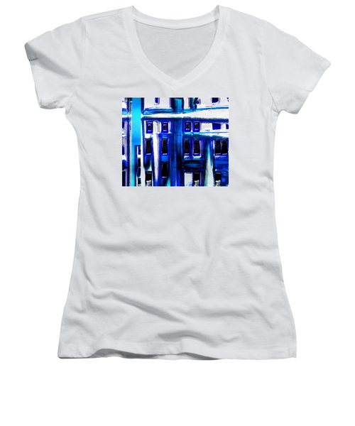 Blue Buildings Women's V-Neck (Athletic Fit)