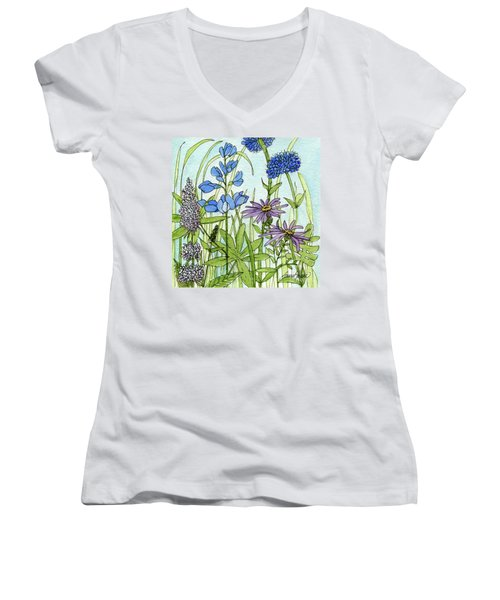 Blue Buttons Women's V-Neck